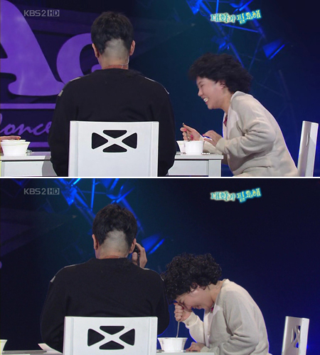 "The 2007.11.18 hair-shaving episode where Shin Bong Seon forgot her remaining script in uncontrollable laughter. Kim Dae Hee saved the gag by muttering in the silence, ""I'm in deep trouble"""